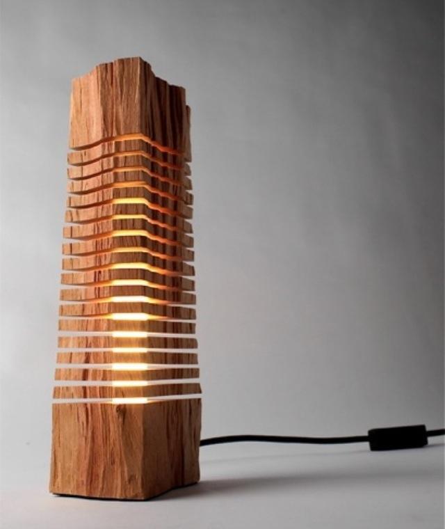 Sliced wood lamp |